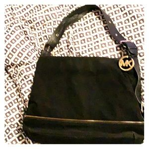 MK large black leather/suede tote